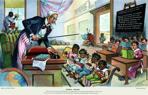 """Cartoon do século XIX onde os EUA """"ensinam"""" outros povos..."""